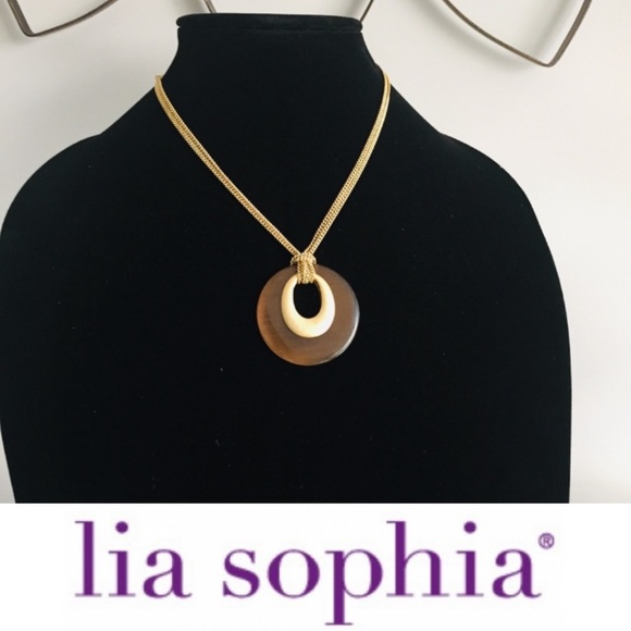 Lia Sophia Brown Round Pendant Short Necklace